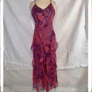 Morrell Maxie handkerchief chiffon gown. Sz8